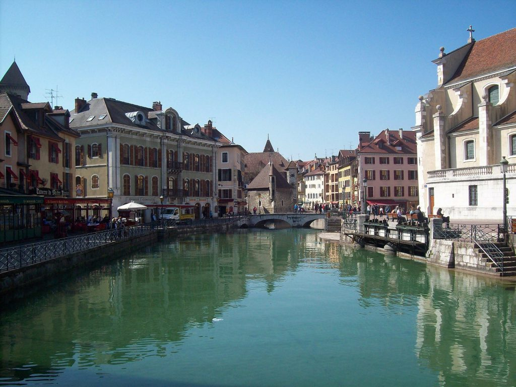 Annecy River in France with Buildings