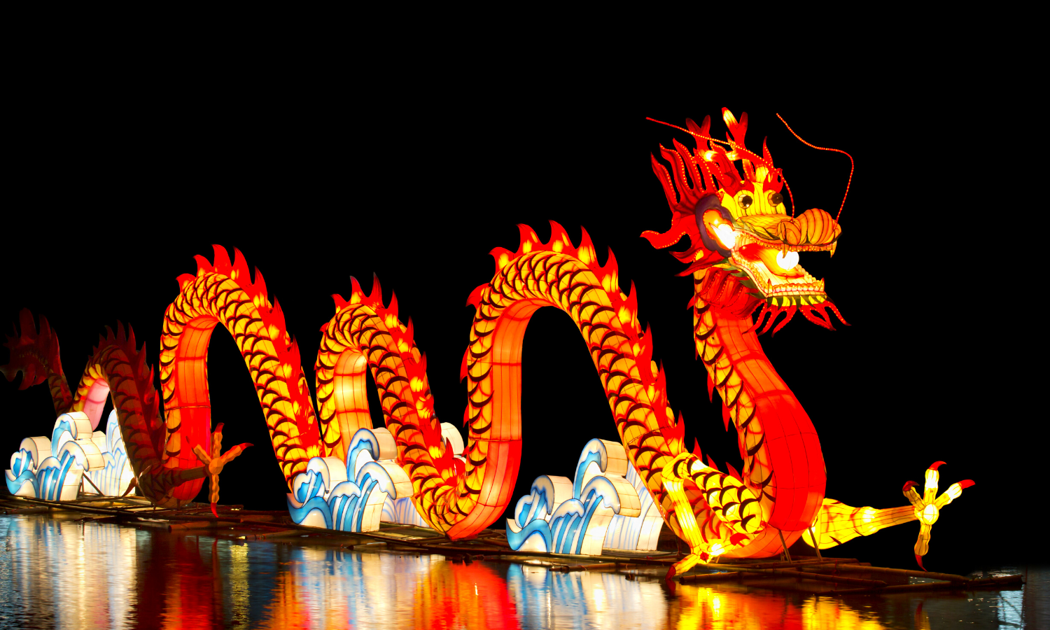 Chinese dragon lit up